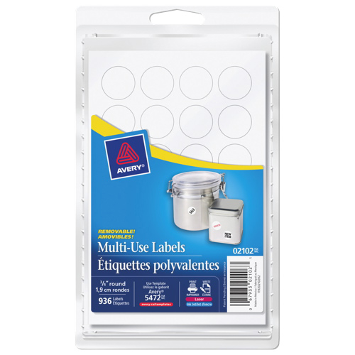 """Avery 3/4"""" Round Removable Adhesive Multipurpose Labels (AVE02102) - 936 Pack - White"""