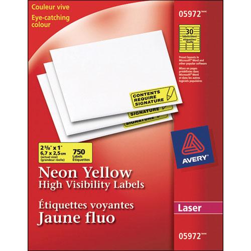 Étiquettes voyantes 2 5/8 x 1 po d'Avery (AVE05972) - Paquet de 750 - Jaune fluo