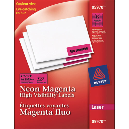 """Avery 2-5/8"""" x 1"""" High Visibility Labels (AVE05970) -750 Pack - Neon Magenta"""