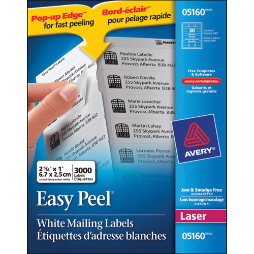avery 1 x 2 5 8 easy peel mailing labels ave05160 3000 pack