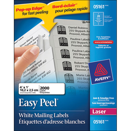 "Avery 1"" x 4"" Easy Peel Mailing Labels (AVE05161) - 2000 Pack"