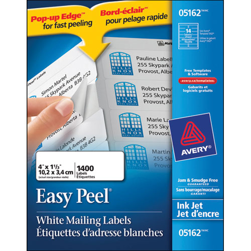 """Avery 1- 1/3"""" x 4"""" Easy Peel Mailing Labels (AVE05162) - 1400 Pack"""
