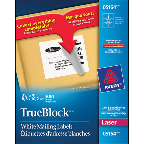 """Avery 3- 1/3"""" x 4"""" TrueBlock Mailing Labels (AVE05164) - 600 Pack"""
