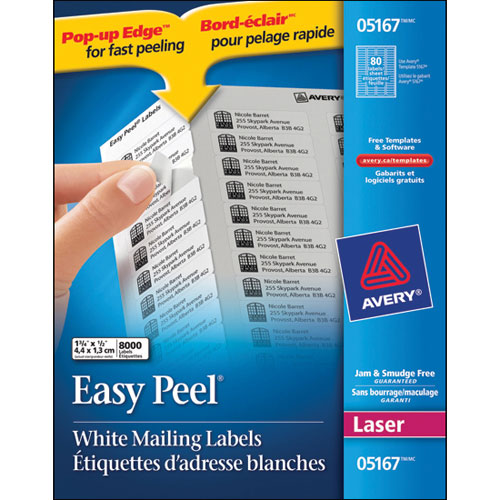 """Avery 1/2"""" x 1- 3/4"""" Easy Peel Mailing Labels (AVE05167) - 8000 Pack"""