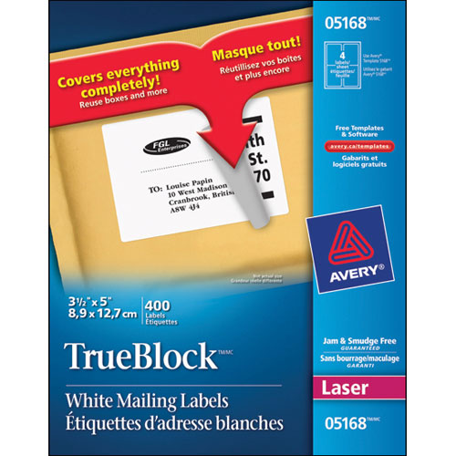 "Avery 3- 1/2"" x 5"" TrueBlock Mailing Labels (AVE05168) - 400 Pack"