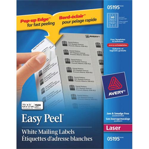 Étiquette d'adresse d'expéditeur Easy Peel 2/3 x 1 3/4 po d'Avery (AVE05195) - Paquet/1500 - Blanc