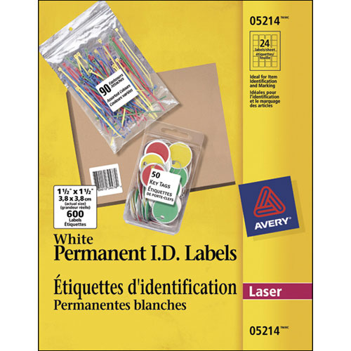 "Avery 1- 1/2"" x 1- 1/2 Permanent I.D. Labels (AVE05214) - 600 Pack"