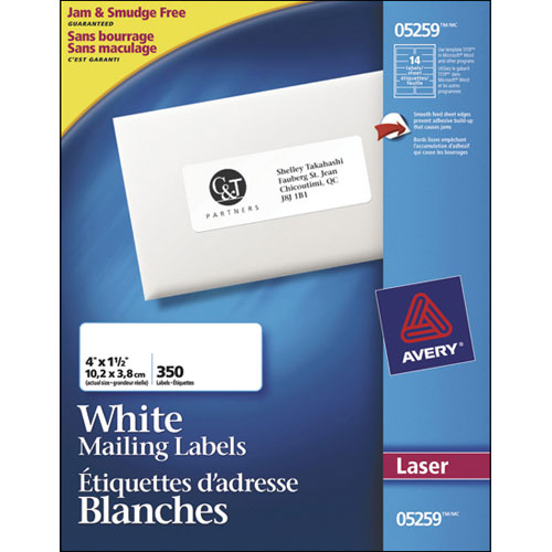 "Avery 1- 1/2"" x 4"" Mailing Labels (AVE05259) - 350 Pack"