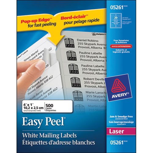 """Avery 1"""" x 4"""" Easy Peel Mailing Labels (AVE05261) - 500 Pack"""