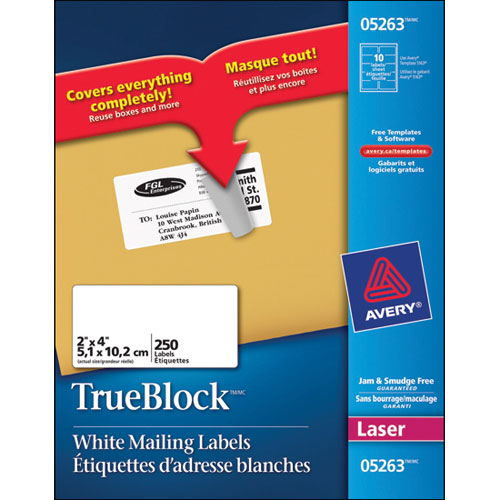 """Avery 2"""" x 4"""" TrueBlock Mailing Labels (AVE05263) - 250 Pack"""