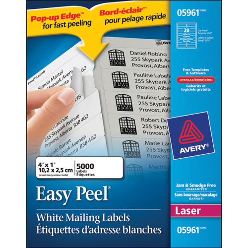 "Avery 4"" x 1"" Easy Peel Mailing Labels (AVE05961) - 5000 Pack"