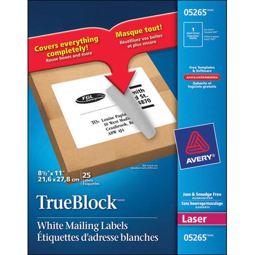 Étiquettes d'adresse TrueBlock 8 1/2 x 11 po d'Avery (AVE05265) - Paquet de 25