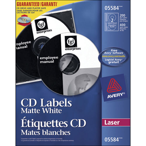 Avery Permanent Laser CD DVD Label AVE05584