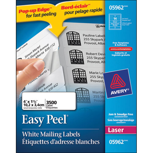"Avery 1"" x 4"" Easy Peel Mailing Labels (AVE05962) - 3500 Pack"