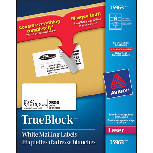 "Avery 2"" x 4"" TrueBlock Mailing Labels (AVE05963) - 2500 Pack"