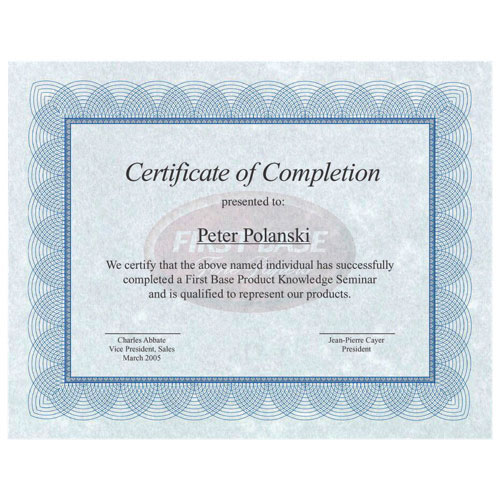 First Base Blank Certificate (FST83402) - Letter - 25 Pack - Blue