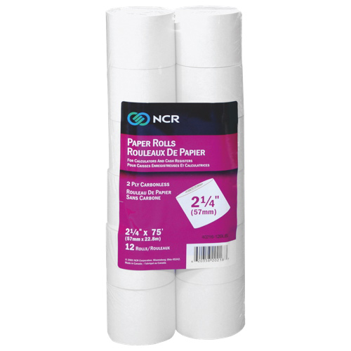 "NCR 2.25"" Carbonless Paper (NCR9077-0175) - 12 Pack - White"