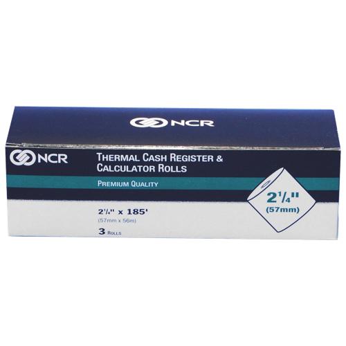 Rouleau de papier thermique 2,25 po de NCR (NCR9078-0393) - Paquet de 3 - Blanc