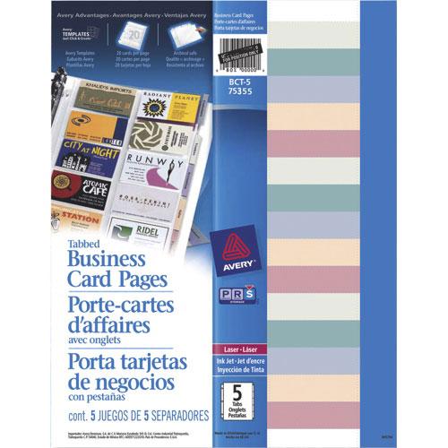Porte-cartes d'affaires avec onglets d'Avery (AVE75355) - Paquet de 5 - Blanc