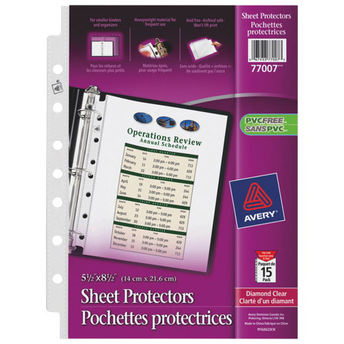 "Avery Mini Diamond 5-1/2"" x 8-1/2"" 7-Hole Punched Sheet Protector (AVE77007) - 15 Pack - Clear"