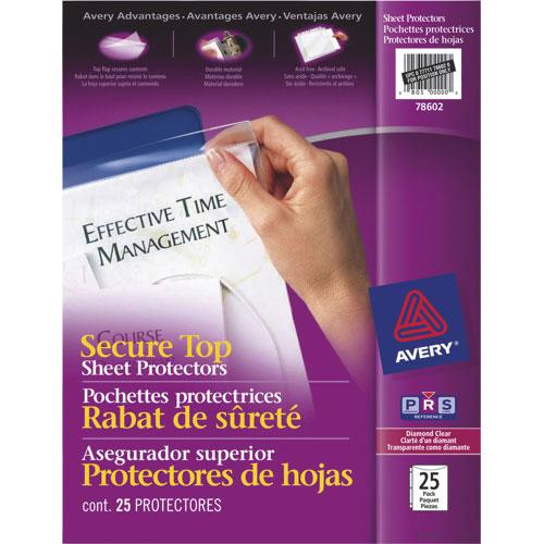 Pochettes protectrices avec rabat de sûreté d'Avery (AVE78602) - Paquet de 25