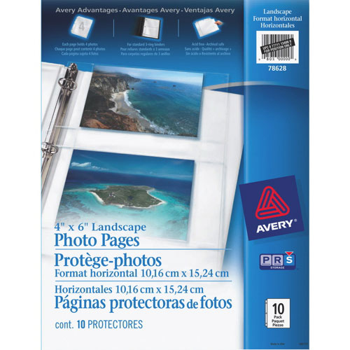 """Avery 4"""" x 6"""" Landscape Photo Pages (AVE78628) - 10 Pack"""