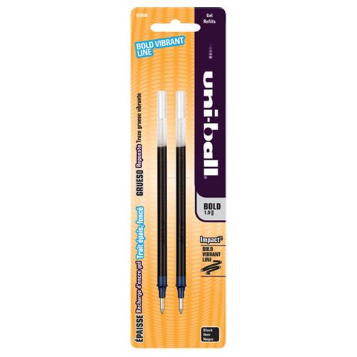 Uni-ball Gel Impact Bold Point Rollerball Pen Refill (SAN65808PP) - 2 Pack - Black