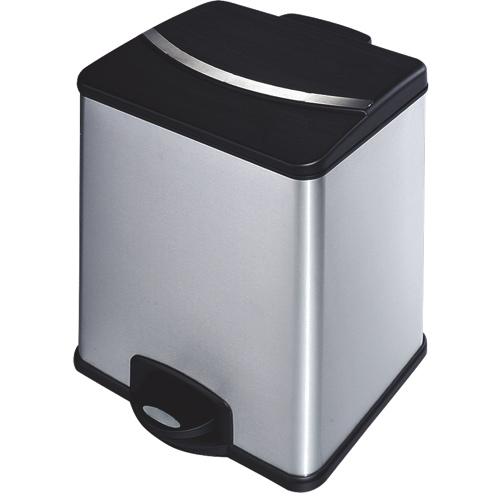 Poubelle/bac de recyclage 18 l + 18 l avec pédale de HQV (959130) - Acier inoxydable-noir