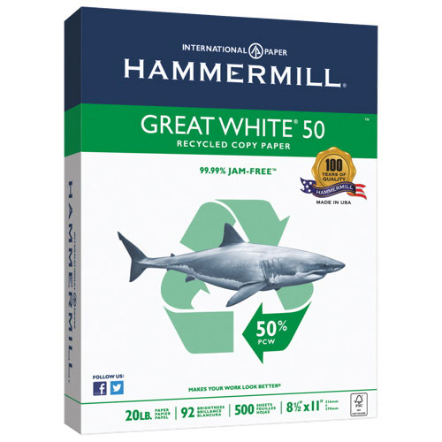 """Hammermill Great White 8.5"""" x 11"""" 50% Recycled Multi-Purpose Paper (HAM-86780) - 500 Sheets"""