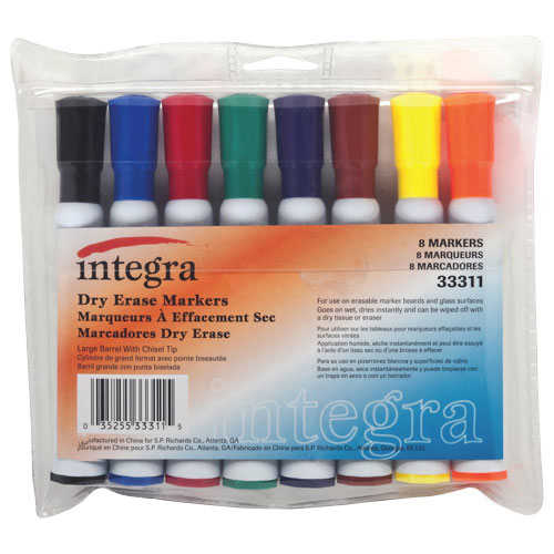 Integra Chisel Point Dry-Erase Marker (ITA33311) - 8 Pack - Multicolour