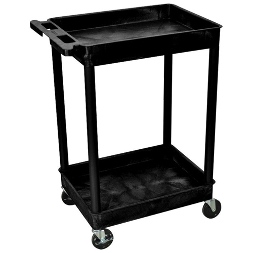 Luxor Tub Cart (STC11-B) - 2 Shelves - Black
