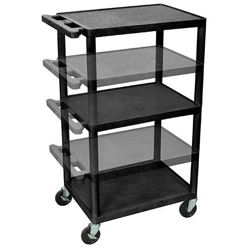 Luxor Multi Height AV Cart (LPDUOE-B) - 3 Shelves - Black