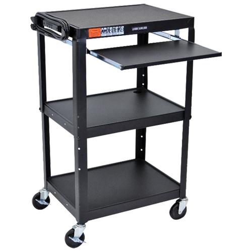Luxor Adjustable Height Steel Cart With Keyboard Tray (AVJ42KB) - Black
