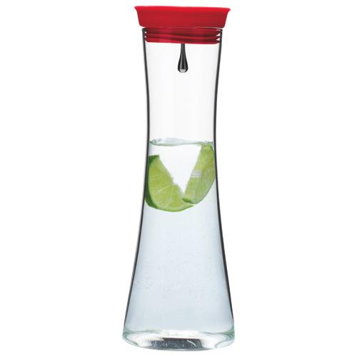 Brilliant 1L Glass Pure Jug - Red/Silver