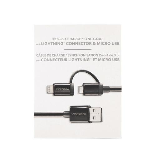 Câble Lightning/Micro USB de 1 m (3 pi) d'Insignia (NS-A3SC-C) - Noir