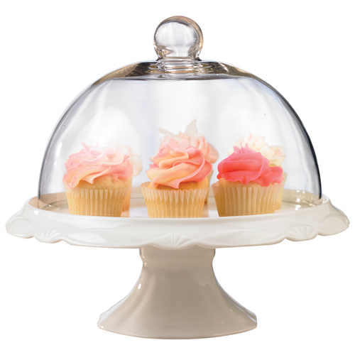"""Brilliant Bianco 10"""" Cake Plate & Dome"""