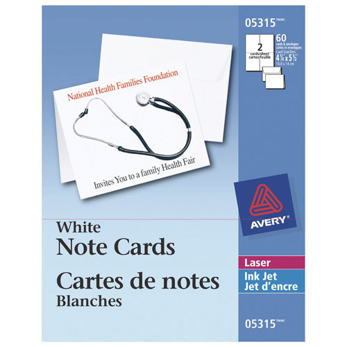 "Avery 4.25"" x 5.5"" Note Cards (AVE05315) - 60 Pieces - White"