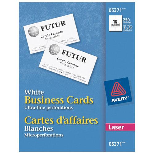 Cartes professionnelles 2 x 3,5 po d'Avery (AVE05371) - Paquet de 250 - Blanc
