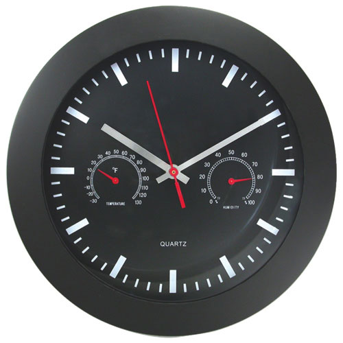 Artistic Products Round Wall Clock With Temperature & Humidity Gauge (AOP6990)
