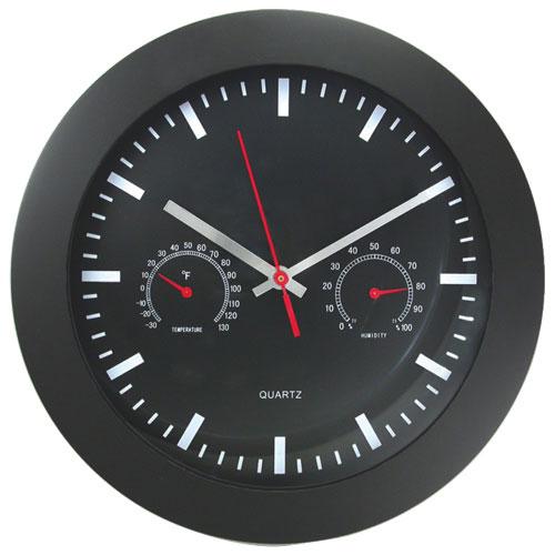 Horloge murale ronde avec indicateur de température et d'humidité d'Artistic Products (AOP6990)