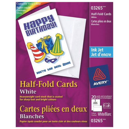 "Avery 5.5"" x 8.5"" Half-Fold Cards (AVE03265) - 20 Pieces - White"