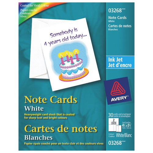 """Avery 4.25"""" x 5.5"""" Note Cards (AVE03268) - 30 Pieces - White"""