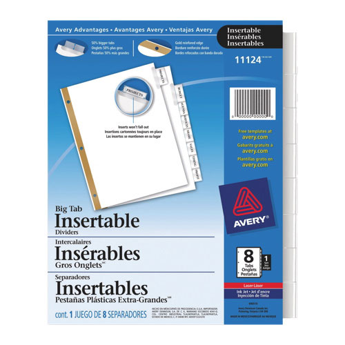 Intercalaires insérables Big Tab d'Avery (AVE11124) - Paquet de 8 - Transparent