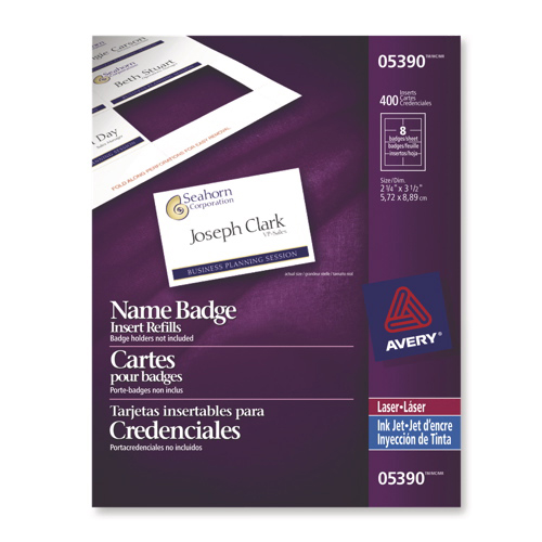 Avery Name Badge Inserts (AVE05390) - 400 Pack - White