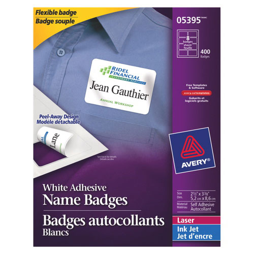 Avery Name Badges (AVE05395) - 400 Pack - White