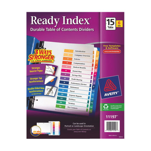 Avery Ready Index Table of Contents 1-15 Dividers (AVE11197) - 15 Tabs - 6 Pack - Assorted Colours