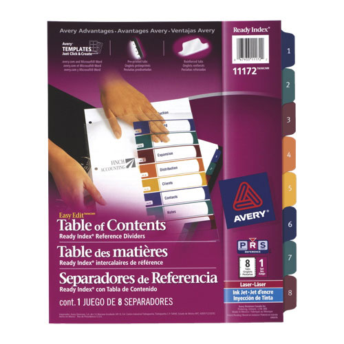 Avery Ready Index Easy Edit Table of Contents 1-8 Dividers (AVE11172) - 8 Tabs - Assorted Colours