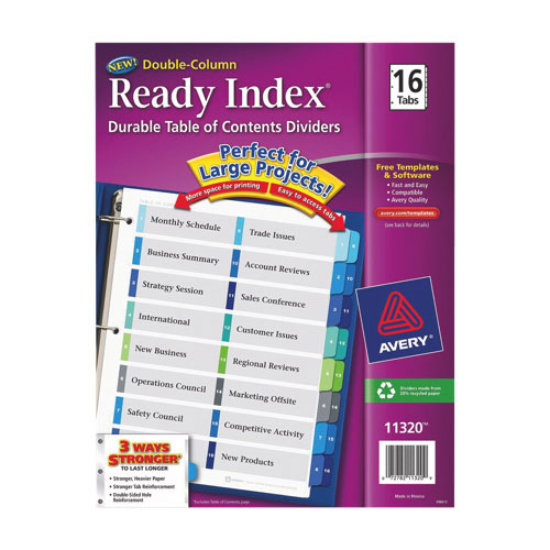 Avery Ready Index Table Of Contents Dividers (AVE11320) - 16 pack - Assorted