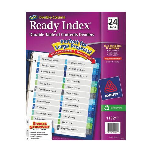 Intercalaires avec table des matières Ready Index d'Avery (AVE11321) - Paquet de 24 - Multicolore