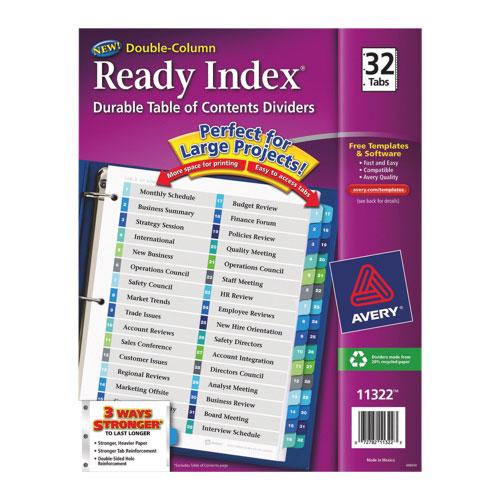 Intercalaires avec tables des matières Ready Index d'Avery (AVE11322) - Paquet de 32 - Multicolore